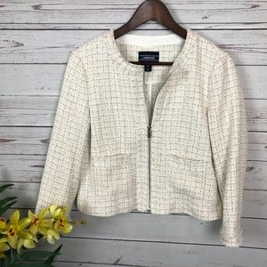 Lands' End White Tan Tweed Blazer Zipper Jacket